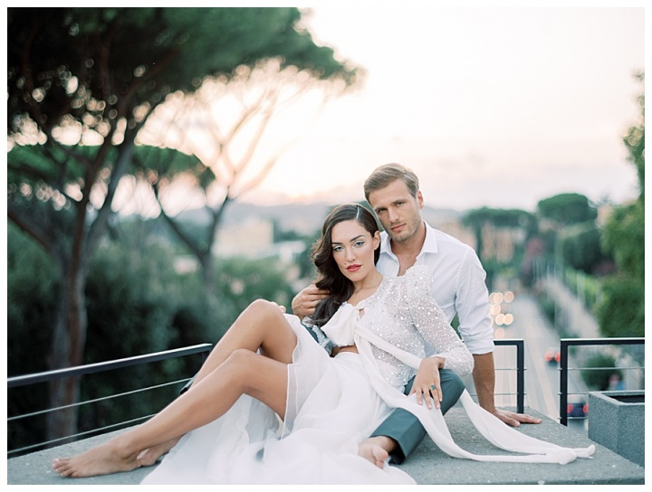 elope in private villa in the heart of rome. bride wear Chosen by Kyha wedding coat available at VIVIENNE Paris bride in Paris, France